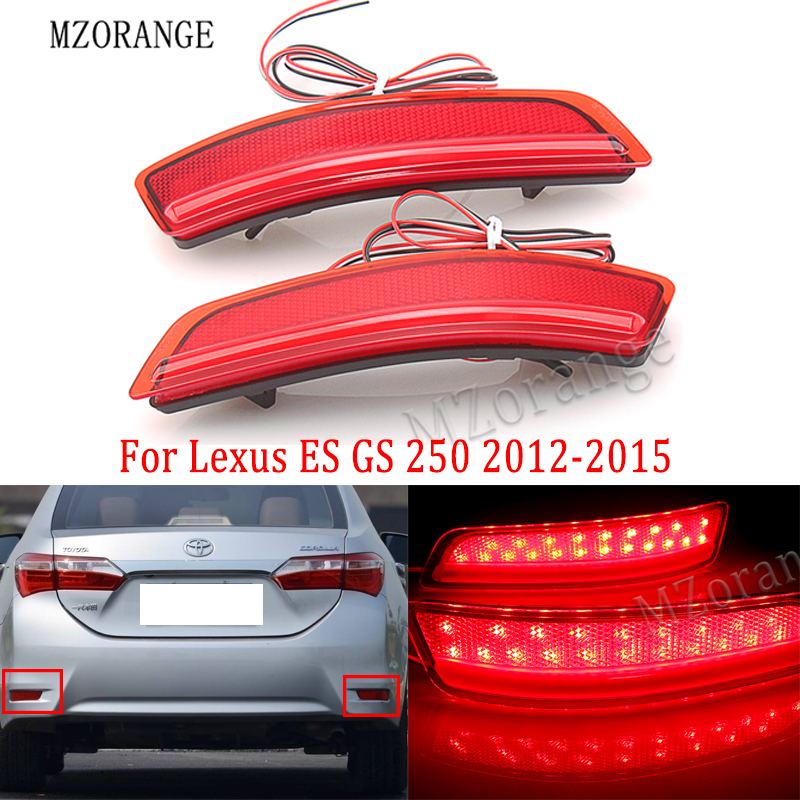 MZORANGE 2x Red Rear Bumper Reflector LED Stop Brake Light For <font><b>Lexus</b></font> ES GS <font><b>250</b></font> 2012-2015 For Toyota Corolla Car Accessories image