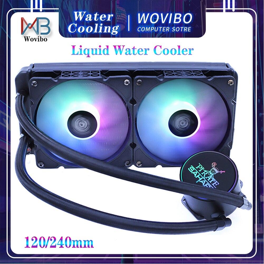 Водяной кулер для процессора, высокая производительность 300 Вт TDP радиатор для жидкого охлаждения 120 мм 240 мм вентилятор для 115x1200 2011x79 X99 AM4 вен...