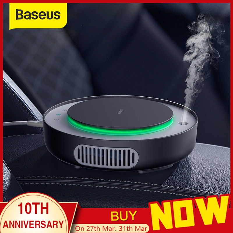 Baseus 2in1 Car Air Purifier Car Humidifier Negative Ions Air Cleaner Ionizer with Filter Remove PM2.5 Formaldehyde for Car Home