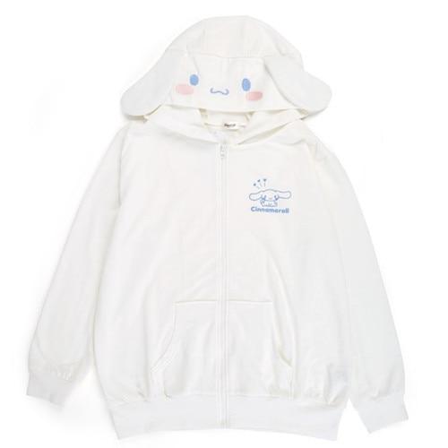 New Harajuku Cinnamoroll Kawaii Hoodies Sweatshirt Cosplay Cartoon Cotton White Hooded Top Winter Casual Women Loose Zipper Coat