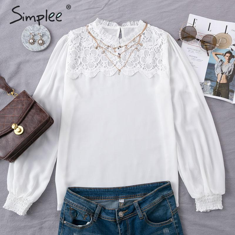 Simplee Patchwork Lace Embroidery Chiffon Blouse Elegant Lantern Sleeve Hollow Out Female Shirts Autumn Office Ladies White Tops