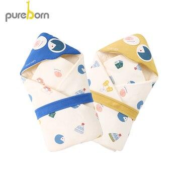 Pureborn Пеленальное Одеяло для новорожденных мальчиков и девочек, Хлопковое одеяло с мультяшным рисунком, спальный мешок, постельные принадле