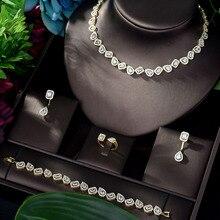HIBRIDE Nigeria 4pcs Bridal Zirconia Jewelry Sets for Women Party, Luxury Dubai Nigeria CZ Crystal Wedding Jewelry Sets N 843
