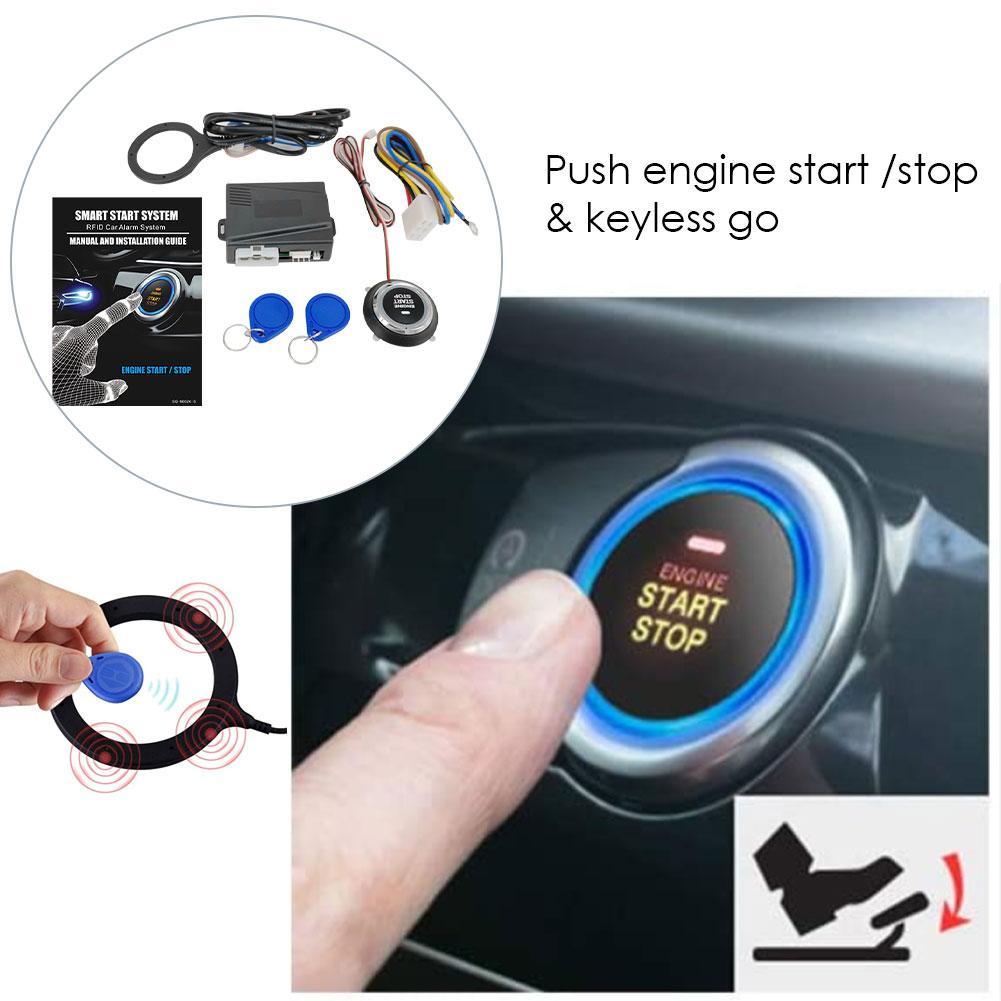 Universal Auto Car Alarm Start Stop Button Engine Push Button RFID Lock Ignition Switch Keyless Entry Starter Antitheft System