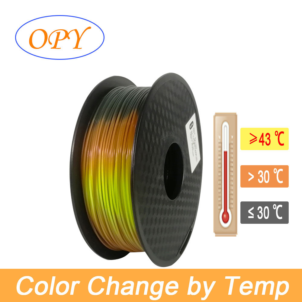 Air Temperature 3 Color Change Filament Pla Base 1.75 Mm 3d 1kg Gradient Grey Black Orange Yellow Red Green Blue Iridescent Temp