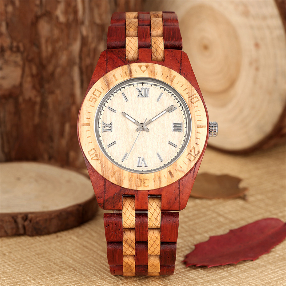 Очаровательный браслет из красного дерева, мужские наручные часы, кварцевые мужские часы с Т образным ремешком и римскими цифрами, круглый