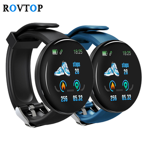 Rovtop D18 Smart Watch Men Women Blood Pressure Round Smartwatch Waterproof Sport Smart Watch Fitness Tracker For Android Ios Z2(China)