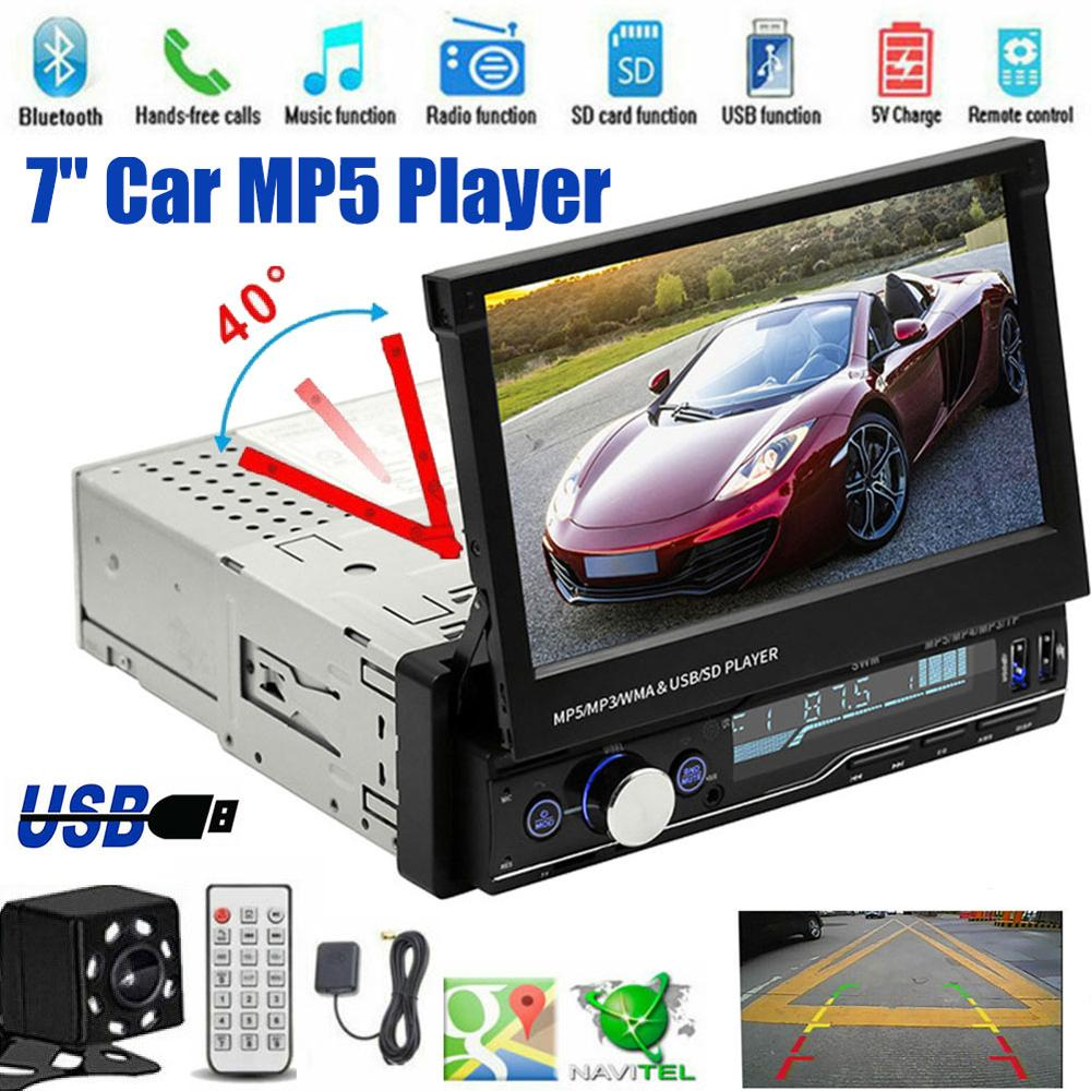T100 Car Stereo MP5 Multimedia Player 7 Retractable Car Stereo Din Car MP5 Player with Remote Control (Battery Excluded) CSV image
