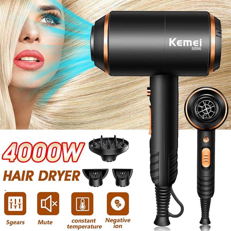 Kemei Hair Dryer For Hairdressing 4000W Powerful Hair Dryer Hot And Cold Wind Negative Ionic Electric Hair Dryer Styling Tools