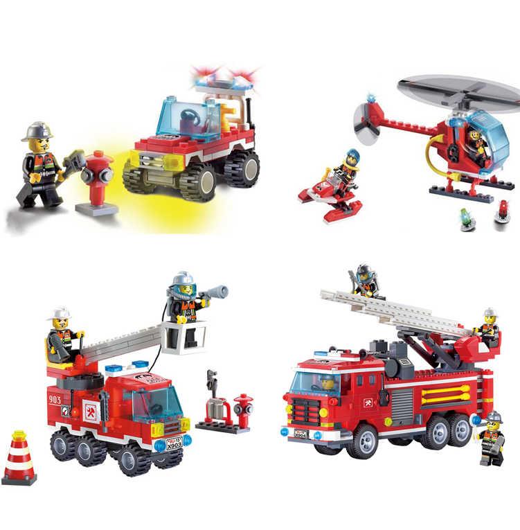 Городской Аэропорт пожарная машина лестница спасательная машина пожарный строительные блоки Развивающие игрушки для детей Technic MOC совместимый