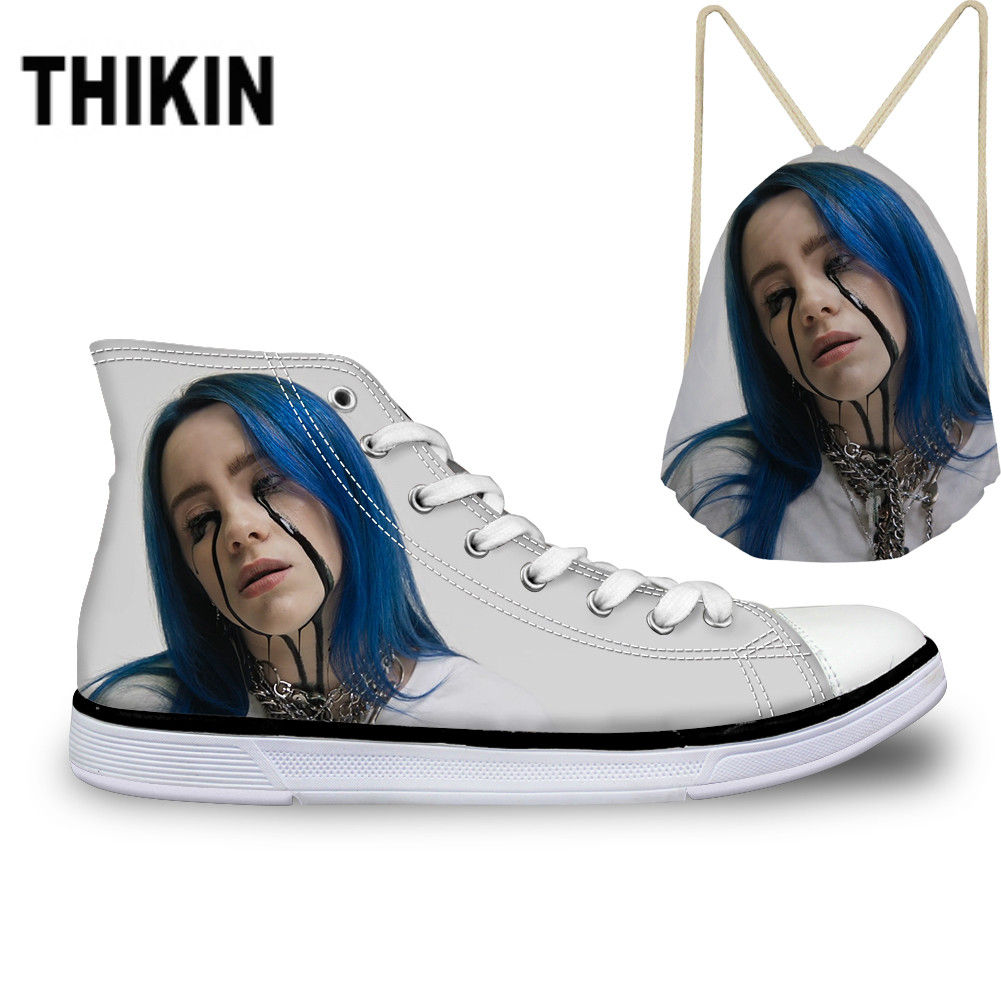 ThiKin 2019 Hot Billie Eilish Print Canvas Shoes Lace Up Women Fashion White Sneakers Breathable Ladies High Top Vulcanize Shoes