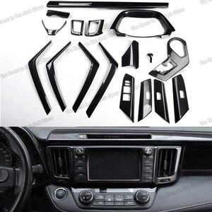 Lsrtw2017 Carbon Fiber Gear Panel Steering Wheel Trims Armrest Cover for Toyota Rav4 2013 2014 2015 2016 2017 2018 Accessories