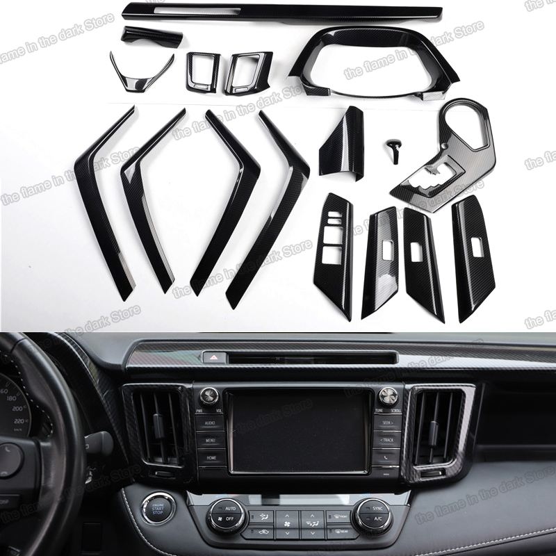 Lsrtw2017 Carbon Fiber Gear Panel Steering Wheel Trims Armrest Cover for <font><b>Toyota</b></font> <font><b>Rav4</b></font> 2013 2014 2015 2016 2017 <font><b>2018</b></font> <font><b>Accessories</b></font> image