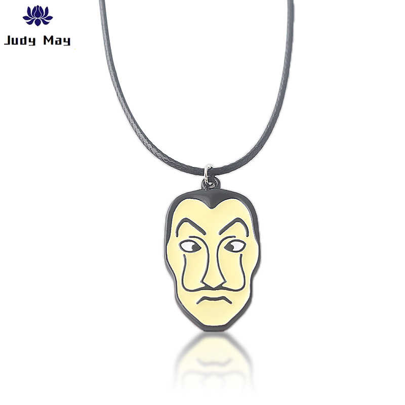Salvador Dali Masker Kalung Rumah Kertas La Casa De Papel Uang Pencurian Cospaly Kalung untuk Wanita Pria Perhiasan halloween Hadiah