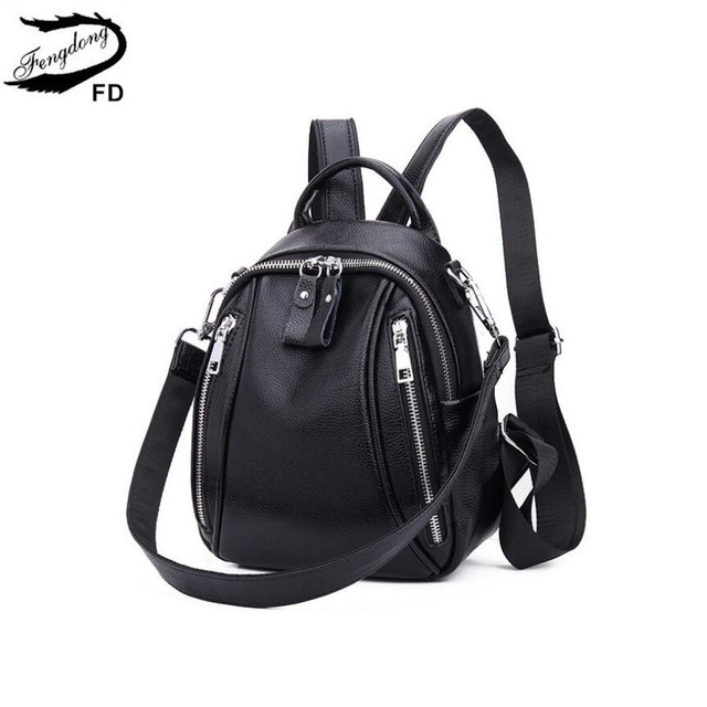 Fengdong mulher mini saco de couro genuíno mochila anti roubo preto pequeno bolsa de ombro de couro feminino mochila viagem menina backbag