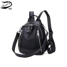 Fengdong Женская мини сумка из натуральной кожи, рюкзак с защитой от кражи, черная Маленькая кожаная сумка на плечо, Женский дорожный рюкзак, рюкзак для девочек