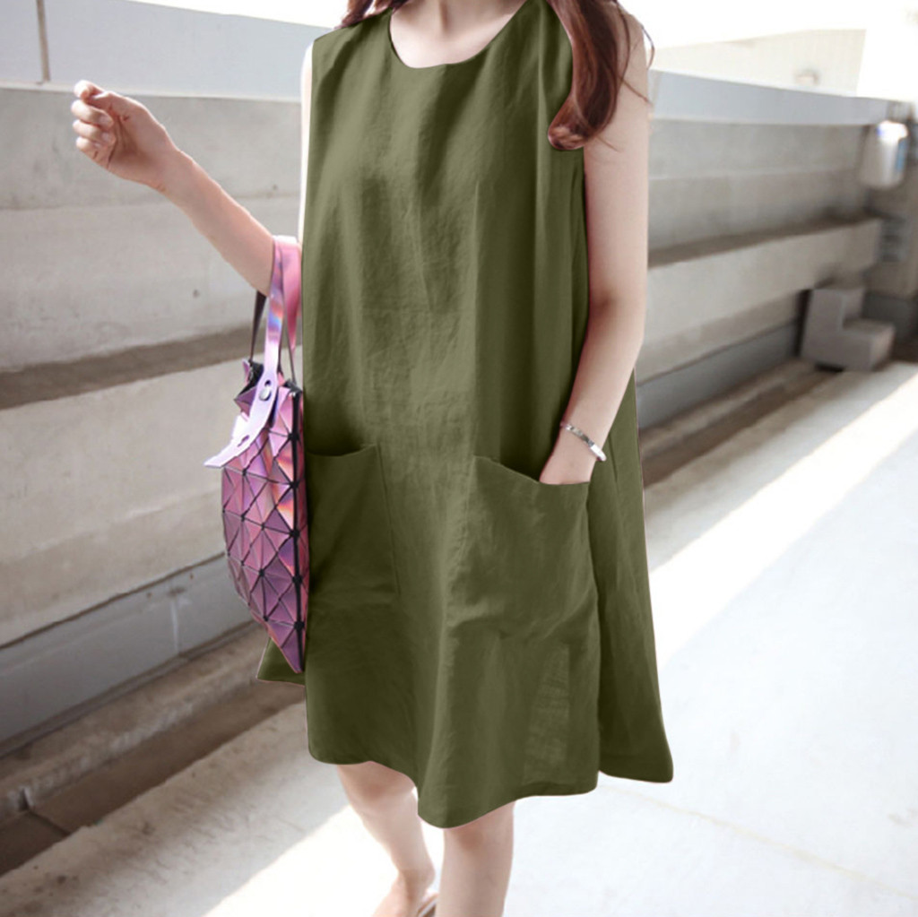 Summer Dress Sleeveless O neck Sleeveless Solid Loose Pockets Cotton Linen Casual Dress Elegant