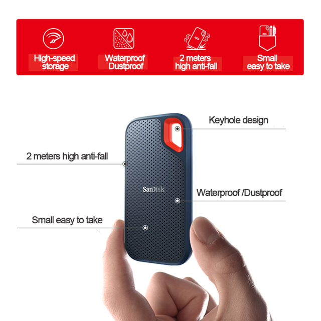 100%SanDisk Type-c Portable 1tb SSD 2tb 500GB 550M External Hard Drive USB 3.1 HD SSD Hard Drive Solid State Disk for Laptop 5