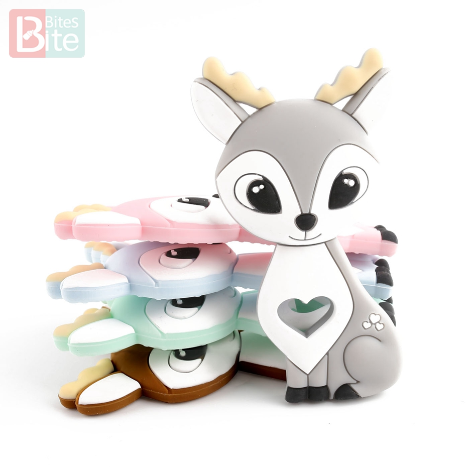 10PCS/5PCS Sikawild Silikon Beißring Cartoon Tier DIY Schnuller Clip Kette BPA FREI Food Grade Silikon elch Baby Beißring