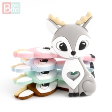 10PCS/5PCS Sika Deer Silicone Teether Cartoon Animal DIY Pacifier Clip Chain BPA Free Food Grade Silicone Elk Baby Teether