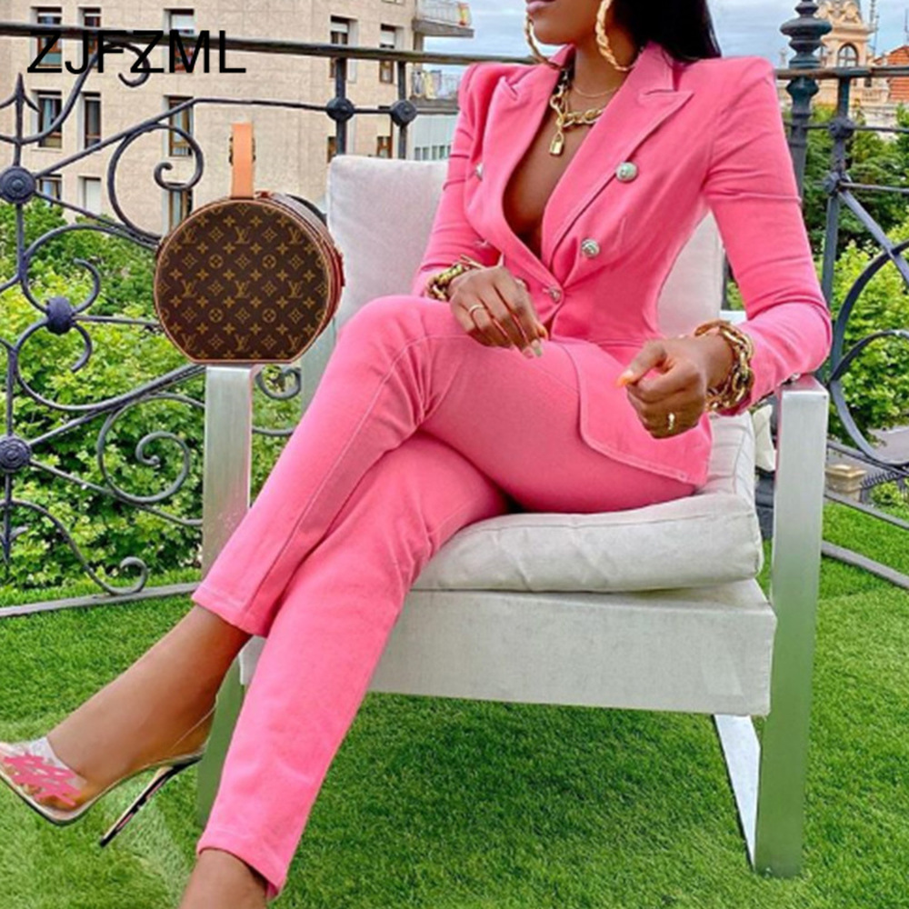 Pink/yellow Office Lady Work Business Two Piece Suit Women's Sets Notched Long Sleeve Slim Fit Blazers and Pencil Pant Elegant
