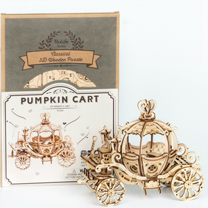 Image 4 - Robotime جديد وصول 182 قطعة DIY المنقولة 3D خشبية اليقطين عربة بناء نموذج كيت لعبة هدية للأطفال صديق TG302