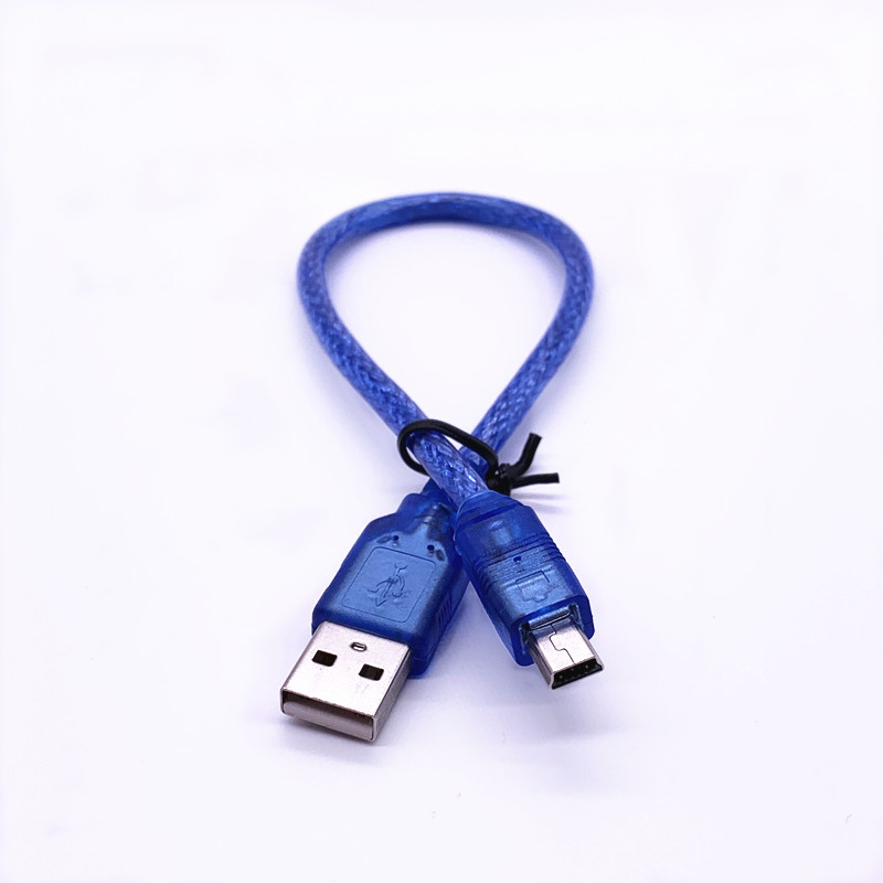 Blue Short USB 2.0 A Male To Mini 5 Pin B Data Charging Cable Cord Adapter 30cm
