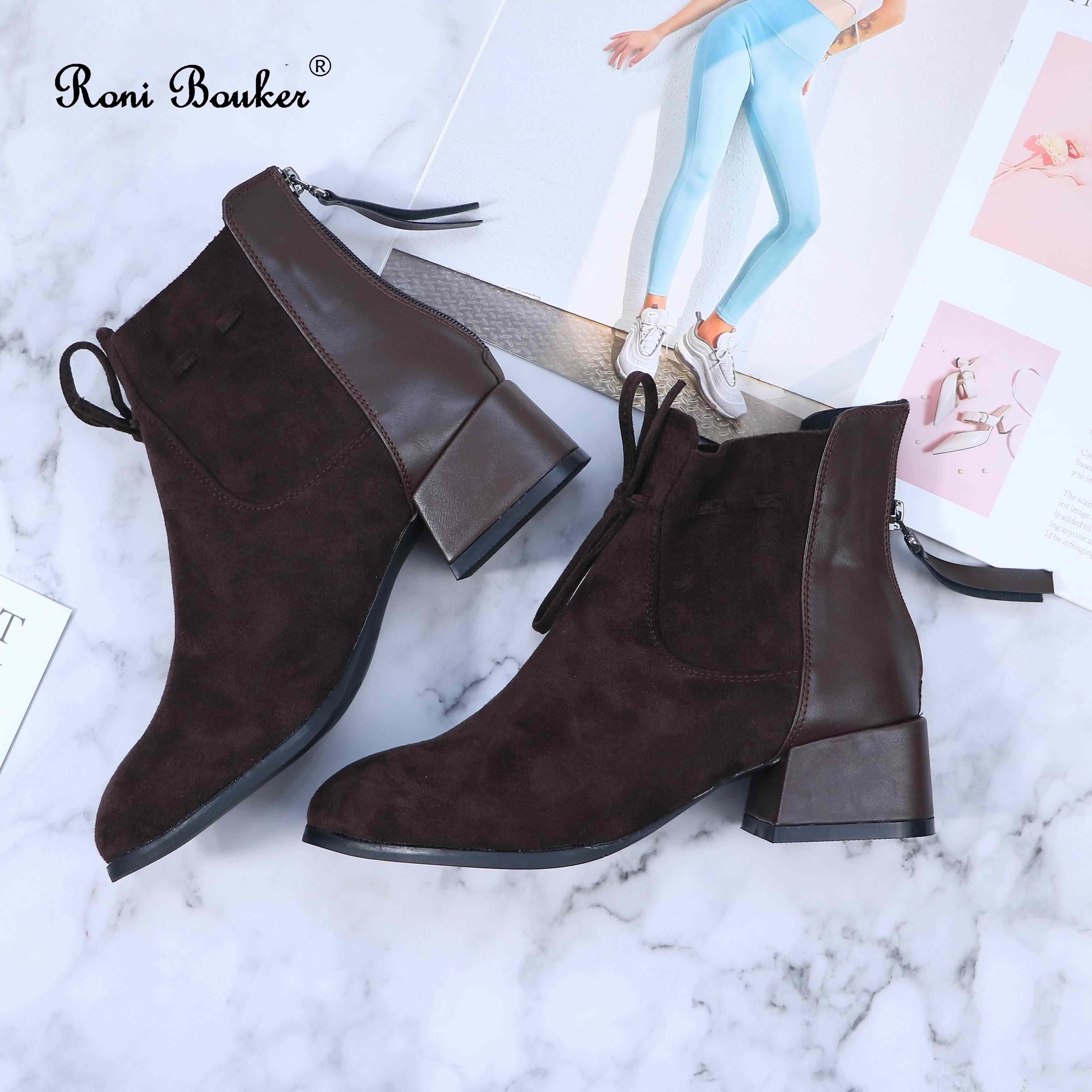 Roni Bouker 2019 kadın sonbahar kış dantel Up patik kadınlar Faux kürk ayak bileği ayakkabı kadın kahverengi yumuşak süet çizmeler boyutu 42 Dropship
