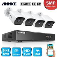 Sistema de cámaras de videovigilancia ANNKE 8CH 5MP Lite 5 en 1 H.265 + DVR con 4 Uds 5MP cámaras de seguridad a prueba de agua y balas Kit CCTV