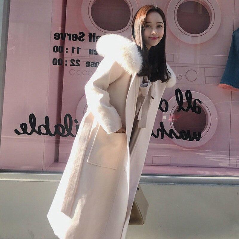 Col de fourrure à capuche hiver Manteau femmes grande taille Manteau en laine Femme mode Beige noir épaissir chaud longs manteaux Manteau Femme