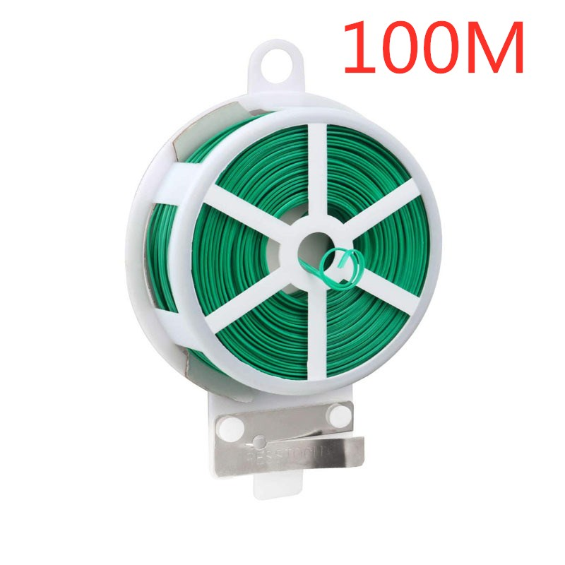 100M Multifunctional Plastic Steel Twist Tie Sturdy Reusable Garden Flower Plant Support Strap Tie Home Improvement Cable Ties