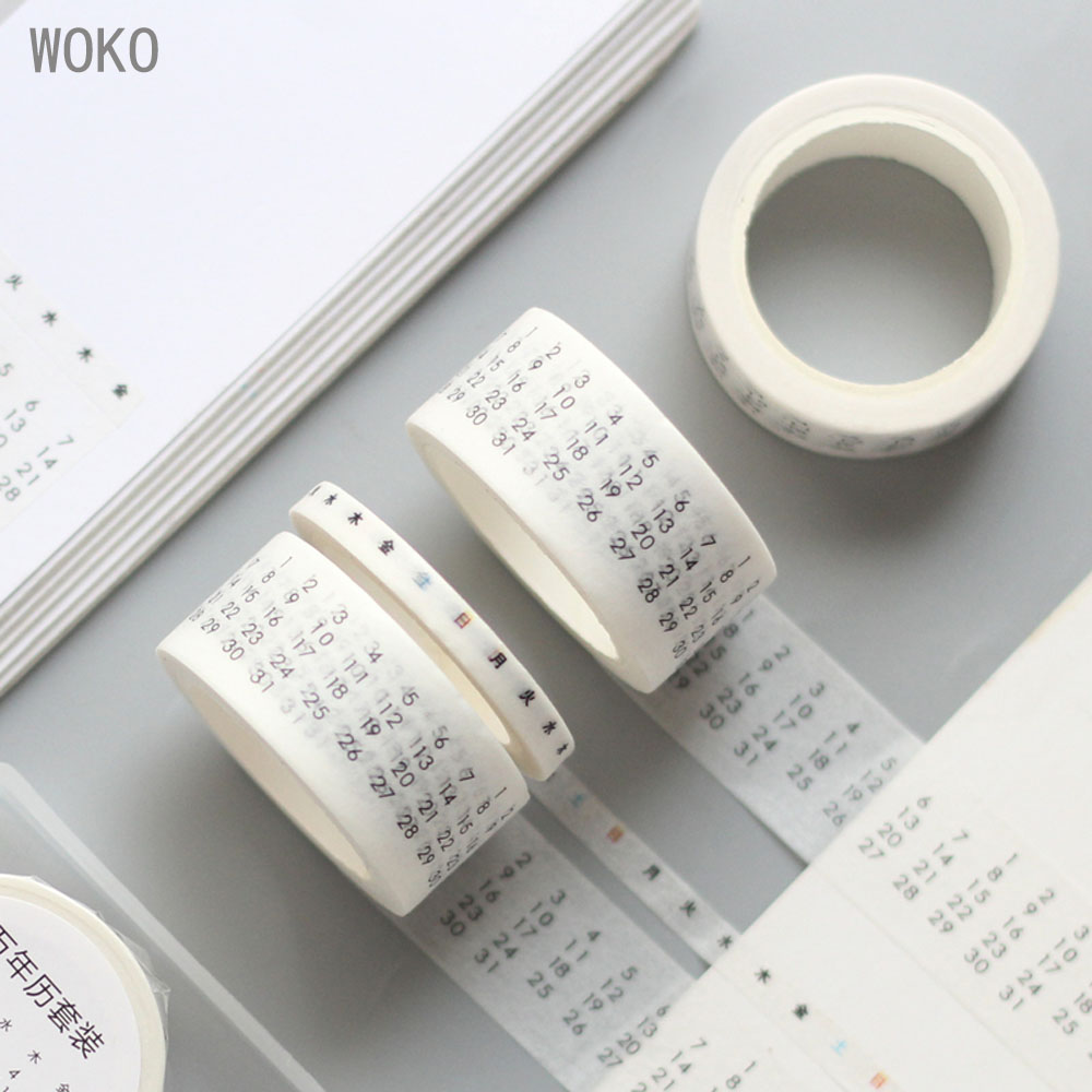 New Simple Monthly Weekly Date Calendar Base Sticker Decoration Washi Tape DIY Scrapbooking Sticker Label Masking Tape Escolar