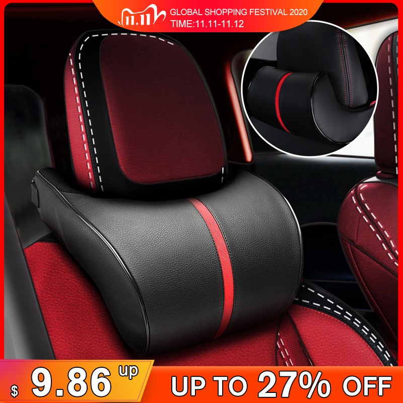 PU Leather Car Auto Seat Neck Pillow Memory Foam Head Neck Rest Headrest Cushion Car Neck Pillow Auto Car Accessories Interior