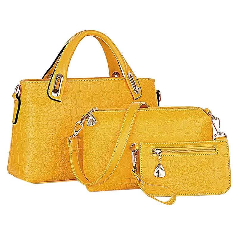 Unique Shoulder Bag Crocodile Grain Three-pieces Mother Son Messenger Bag (Yellow)