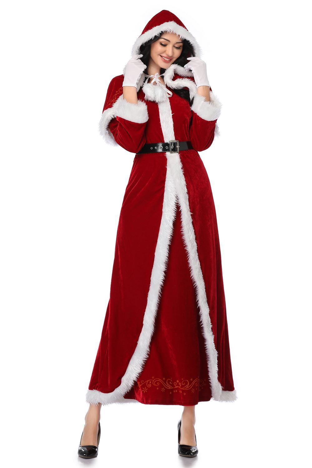 Ladies Mrs Santa Claus Christmas Fancy Dress Costume Xmas Party Outfit M-XL