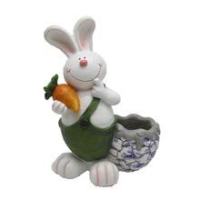 Cute Resin Rabbit Decoration Family Outdoor Garden Resin Crafts Pastoral Style Realistic Cartoon Animal Flower Pot Decoration