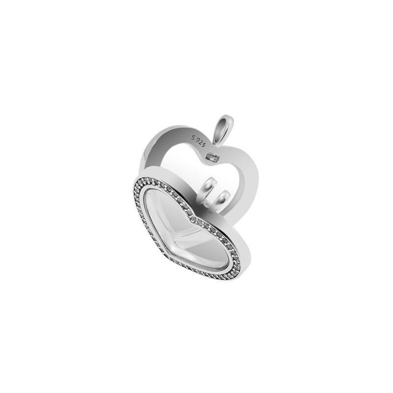 Clair CZ cristal coeur médaillon pendentif Collier amour déclaration colliers pour les femmes 925 en argent Sterling chaîne colliers bijoux bricolage - 2
