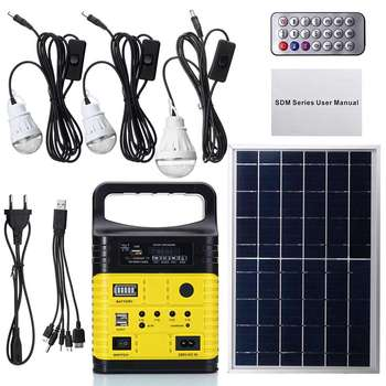 1 Set 10W Portable Solar Generator Outdoor Power Mini DC10W Solar Panel 6V-9Ah Lead-acid Battery Charging LED Lighting System - Spain, Yellow