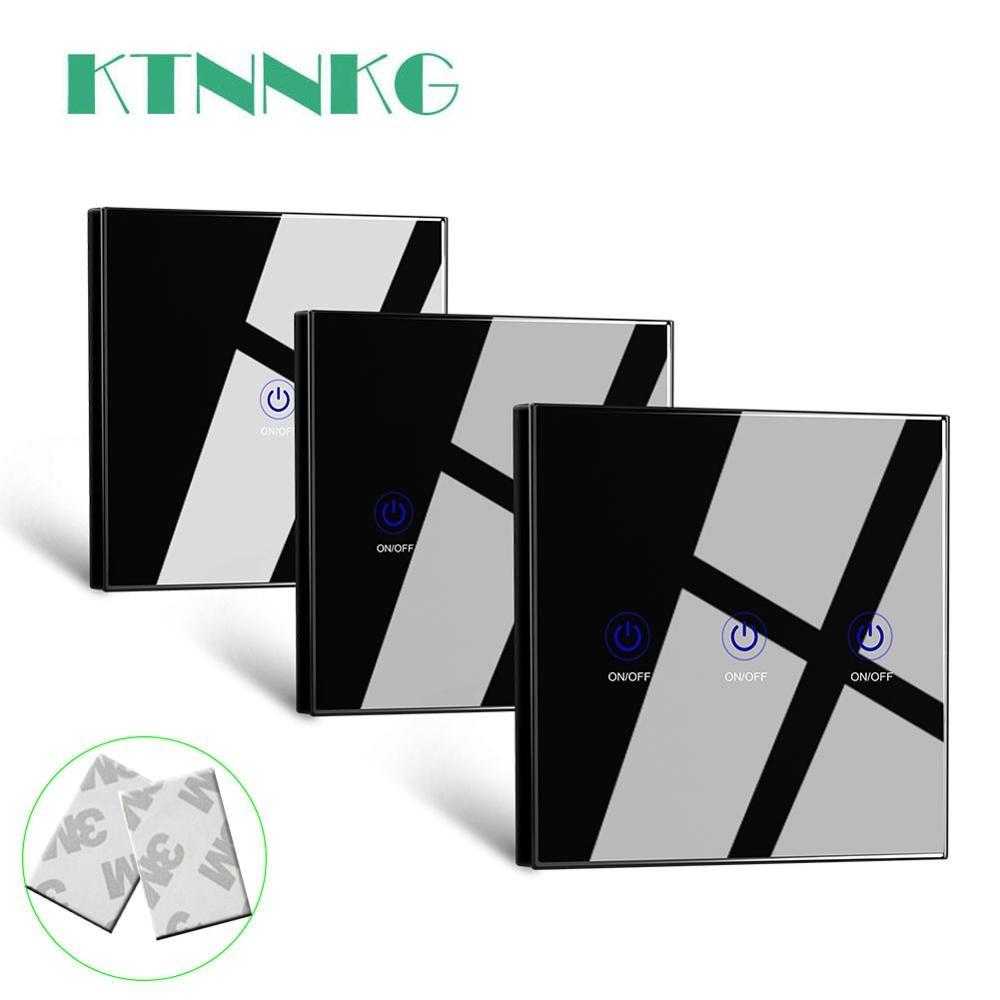 Настенный сенсорный пульт дистанционного управления KTNNKG 86, беспроводной радиочастотный передатчик с панелью из закаленного стекла светод...