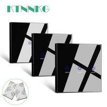 KTNNKG Black 86 Wall Touch Remote Control Wireless RF Transmitter Tempered Glass Panel + LED for Lamp Light 433MHz EV1527 Chip