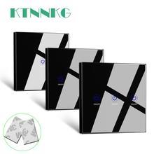 KTNNKG noir 86 mur tactile télécommande sans fil RF émetteur verre trempé panneau + LED pour lampe lumière 433MHz EV1527 puce