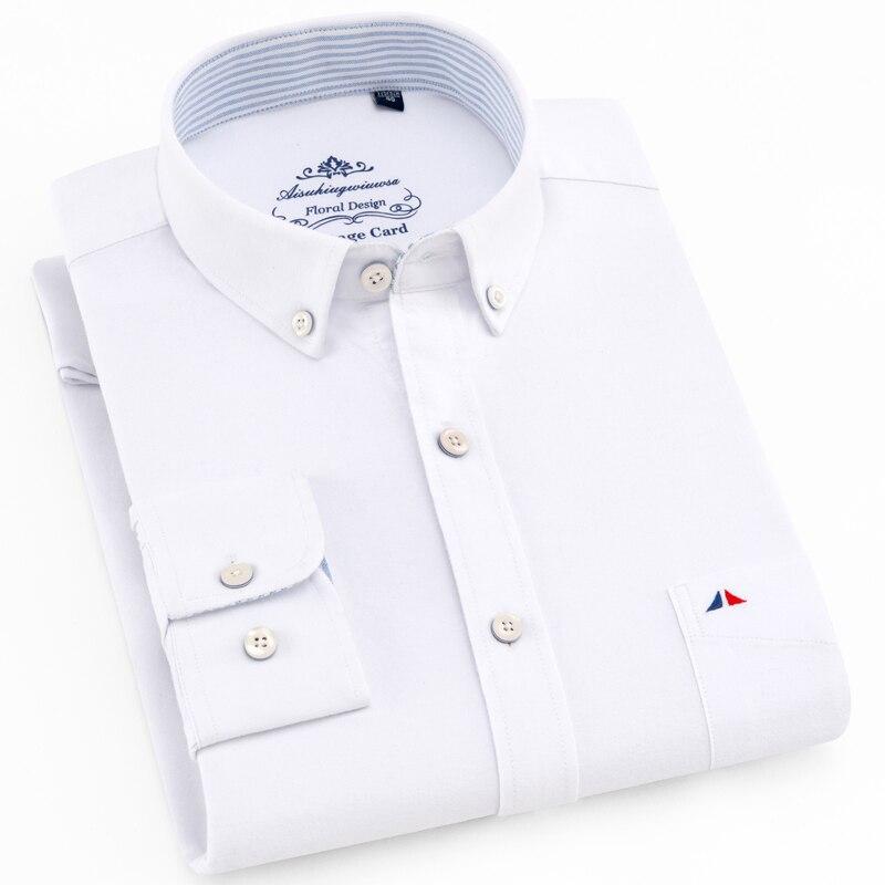 メンズ正規フィット長袖固体オックスフォードコットンシャツ単一のパッチポケット丸いバレル袖口厚いカジュアルボタンダウンシャツカジュアル シャツ   -