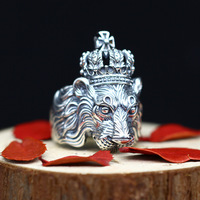 Anel Masculino Real 925 Sterling Silver Crown Lion King Male Rings Punk Vintage Cool Biker Lion Head Men Signet Ring Resizable