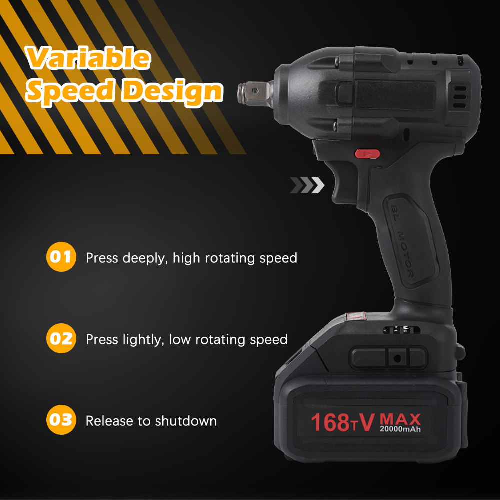 """1/2"""" 21V 20000mAh Electric Rechargeable Brushless Impact Wrench Cordless Socket Wrench Power Tool Hand Drill Installation