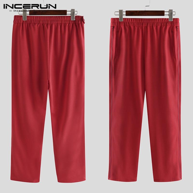 INCERUN Men Sweatpants Solid Joggers Casual Trousers Zipper Bodybuilding Elastic Waist Workout Streetwear Men Track Pants 2020