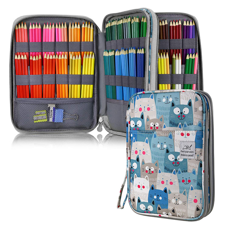 Big 192 Holes Pencil Case for School Office Pencilcase Cute Cat Bear Penal Kawaii Cartridge Box Girls Boys Large Bag Stationery