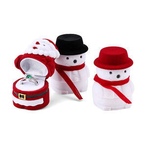 1 Piece snowman Velvet Jewelry Box Santa Claus Ring Box Jewelry Container for Earrings Display Christmas Gift Box Holder