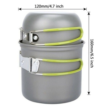 Portable Camping Cookware Kit Aluminum Cooking Set Hiking Picnic Pots Pans Tableware Outdoor Tool BBQ Kitchen Equipment 6