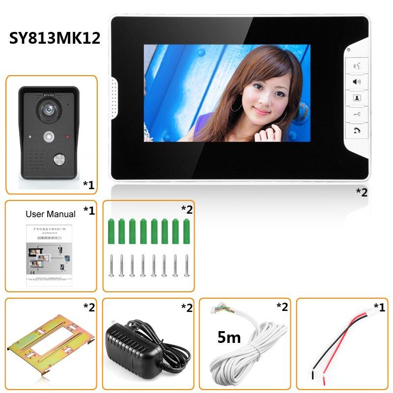 Video Door Intercom 7''Inch 2pc LCD Wired Video Door Phone Visual Video Intercom Doorbell Monitor Camera Kit For Home Security - 6