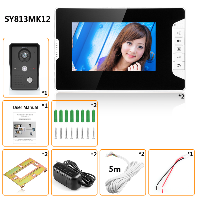 Video Tür Intercom 7''Inch 2pc LCD Verdrahtete Video Tür Telefon Visuelle Video Intercom Türklingel Monitor Kamera Kit Für Home sicherheit - 6